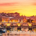 Canvas 50×150 sunset in rome