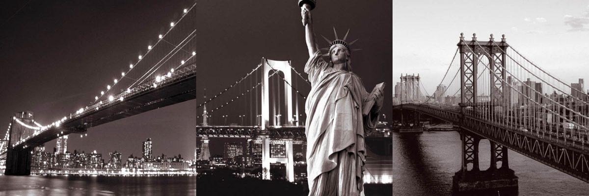 Set 3 canvas 25×25 new york bridges